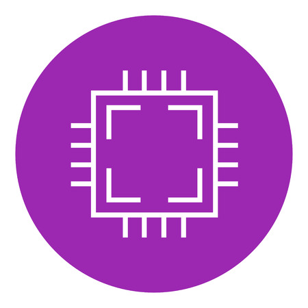 microelectronics: CPU thick line icon with pointed corners and edges for web, mobile and infographics. Vector isolated icon.