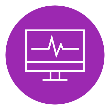 lcd display: Heart beat monitor thick line icon with pointed corners and edges for web, mobile and infographics. Vector isolated icon.