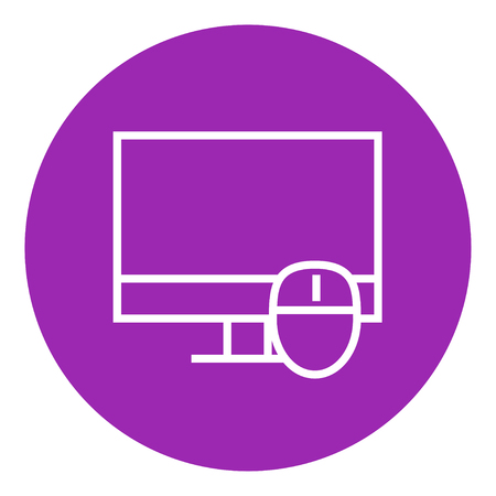Computer monitor and mouse thick line icon with pointed corners and edges for web, mobile and infographics. Vector isolated icon. Illustration