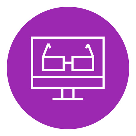 Glasses on computer monitor thick line icon with pointed corners and edges for web, mobile and infographics. Vector isolated icon.