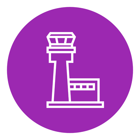 Flight control tower thick line icon with pointed corners and edges for web, mobile and infographics. Vector isolated icon. Çizim