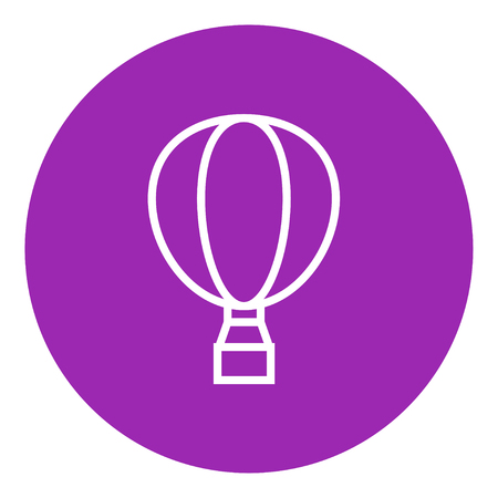 Hot air balloon thick line icon with pointed corners and edges for web, mobile and infographics. Vector isolated icon.