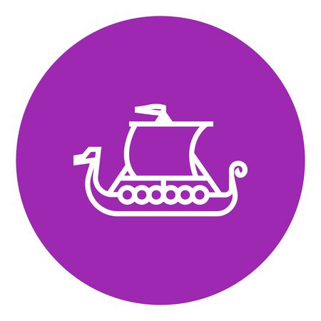 shallop: Old ship thick line icon with pointed corners and edges for web, mobile and infographics. Vector isolated icon. Illustration