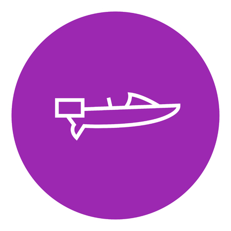 Motorboat thick line icon with pointed corners and edges for web, mobile and infographics. Vector isolated icon.