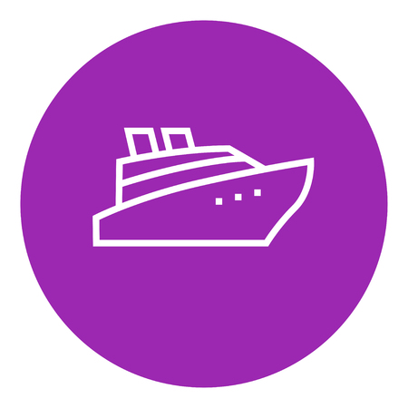 cruising: Cruise ship thick line icon with pointed corners and edges for web, mobile and infographics. Vector isolated icon.