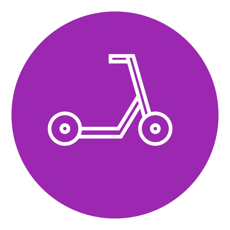 Kick scooter thick line icon with pointed corners and edges for web, mobile and infographics. Vector isolated icon.