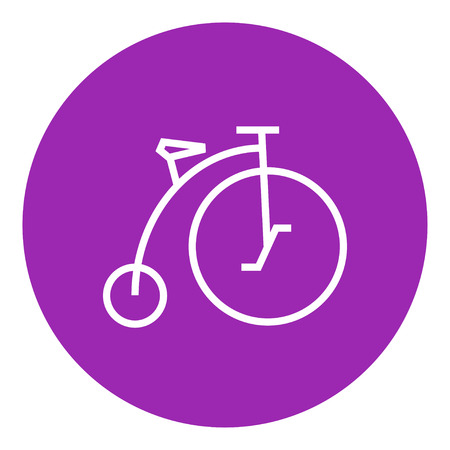 velocipede: Old bicycle with big wheel thick line icon with pointed corners and edges for web, mobile and infographics. Vector isolated icon.