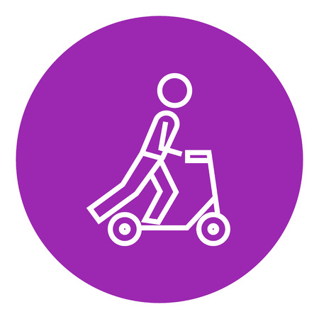 Man riding a kick scooter thick line icon with pointed corners and edges for web, mobile and infographics. Vector isolated icon.  イラスト・ベクター素材