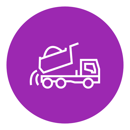 to unload: Dump truck thick line icon with pointed corners and edges for web, mobile and infographics. Vector isolated icon. Illustration