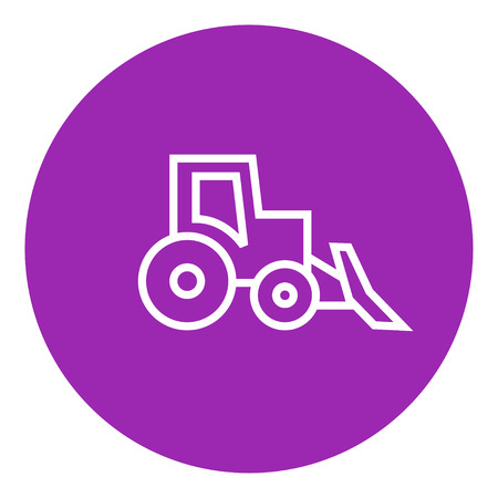 Bulldozer thick line icon with pointed corners and edges for web, mobile and infographics. Vector isolated icon.