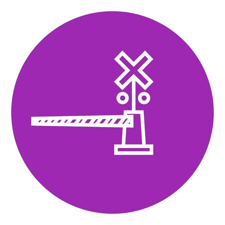 road closed: Railway barrier thick line icon with pointed corners and edges for web, mobile and infographics. Vector isolated icon.