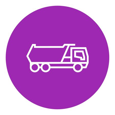 truckload: Dump truck thick line icon with pointed corners and edges for web, mobile and infographics. Vector isolated icon. Illustration