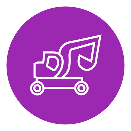 Excavator truck thick line icon with pointed corners and edges for web, mobile and infographics. Vector isolated icon.