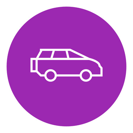 minivan: Minivan thick line icon with pointed corners and edges for web, mobile and infographics. Vector isolated icon.