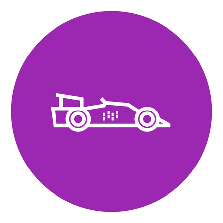 bolide: Race car thick line icon with pointed corners and edges for web, mobile and infographics. Vector isolated icon. Illustration