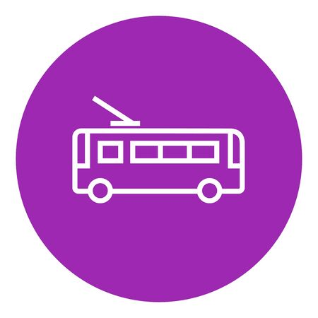 trolleybus: Trolleybus thick line icon with pointed corners and edges for web, mobile and infographics. Vector isolated icon.