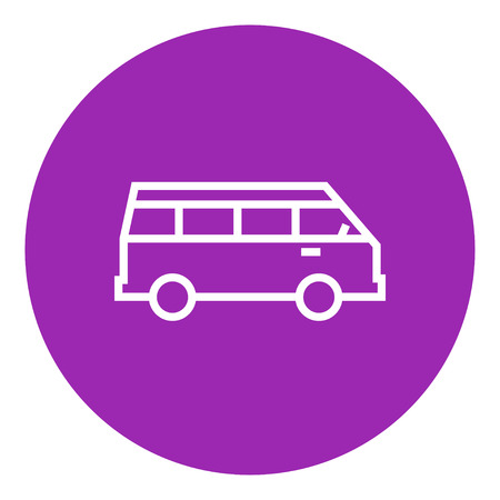 Minibus thick line icon with pointed corners and edges for web, mobile and infographics. Vector isolated icon. Illustration