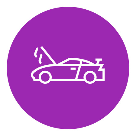 breakage: Broken car with open hood thick line icon with pointed corners and edges for web, mobile and infographics. Vector isolated icon.