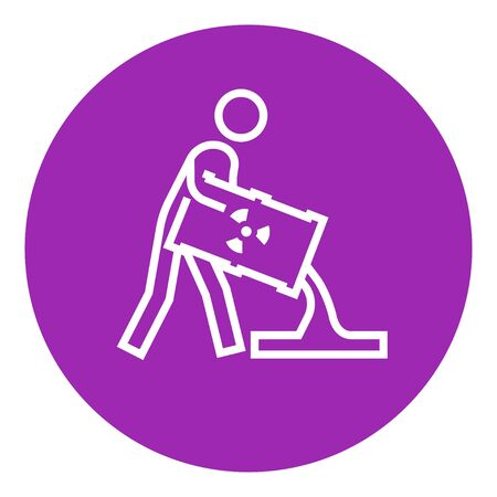 radioactive tank and warning sign: A man pouring the liquid from the barrel with ionizing radiation sign thick line icon with pointed corners and edges for web, mobile and infographics. Vector isolated icon. Illustration