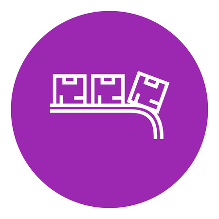 Cardboard box on conveyor belt thick line icon with pointed corners and edges for web, mobile and infographics. Vector isolated icon.