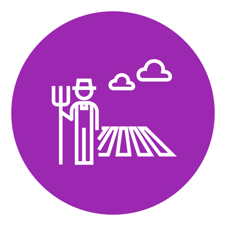 countryman: Farmer with pitchfork standing on the field thick line icon with pointed corners and edges for web, mobile and infographics. Vector isolated icon.