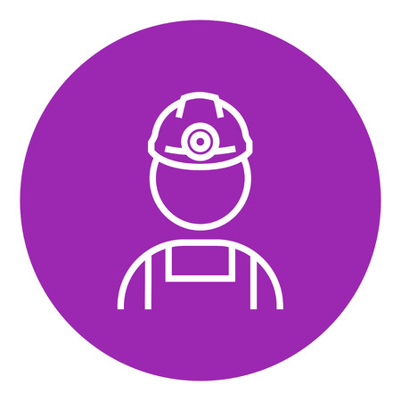 laborer: Coal miner thick line icon with pointed corners and edges for web, mobile and infographics. Vector isolated icon.