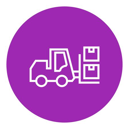 shipping boxes: Forklift shipping boxes thick line icon with pointed corners and edges for web, mobile and infographics. Vector isolated icon.