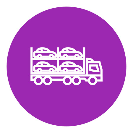 Car carrier thick line icon with pointed corners and edges for web, mobile and infographics. Vector isolated icon. Illustration