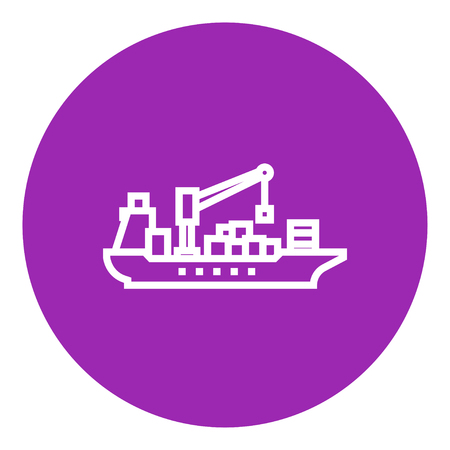 loading dock: Cargo container ship thick line icon with pointed corners and edges for web, mobile and infographics. Vector isolated icon.