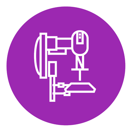 automated: Industrial automated robot thick line icon with pointed corners and edges for web, mobile and infographics. Vector isolated icon.
