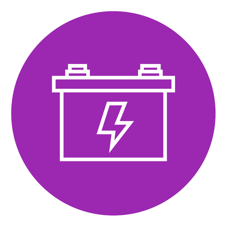 amperage: Car battery thick line icon with pointed corners and edges for web, mobile and infographics. Vector isolated icon.