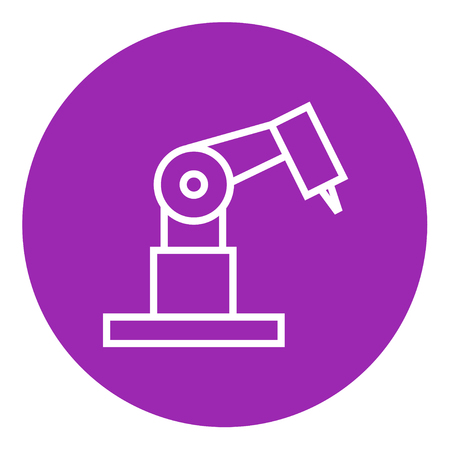 pointed arm: Industrial mechanical robot arm thick line icon with pointed corners and edges for web, mobile and infographics. Vector isolated icon.