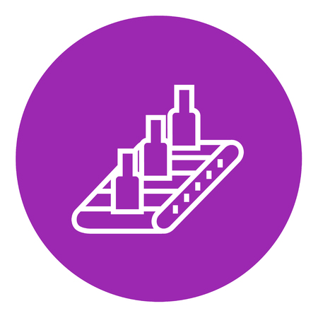 conveyor system: Bottles on conveyor belt system thick line icon with pointed corners and edges for web, mobile and infographics. Vector isolated icon.