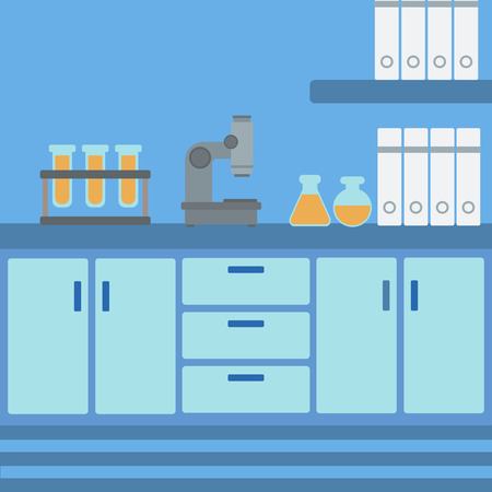 Background of laboratory interior vector flat design illustration. Square layout.