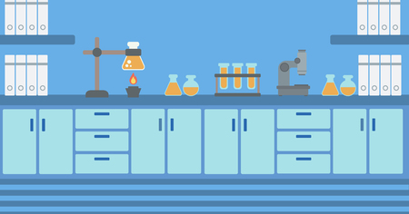 Background of laboratory interior vector flat design illustration. Horizontal layout. Vettoriali