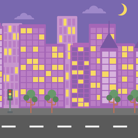 Background of night city and a road vector flat design illustration. Square layout.