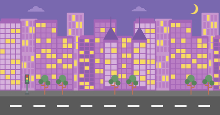moon  metropolis: Background of night city and a road vector flat design illustration. Horizontal layout.