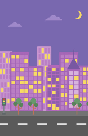 moon  metropolis: Background of night city and a road vector flat design illustration. Vertical layout. Illustration