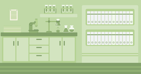 Background of laboratory interior vector flat design illustration. Horizontal layout. 일러스트
