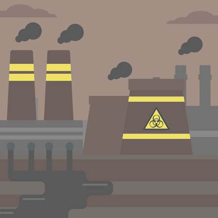 Background of nuclear power plant vector flat design illustration. Square layout. 矢量图像