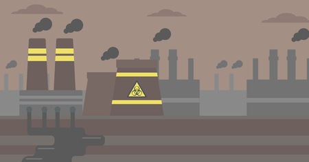 Background of nuclear power plant vector flat design illustration. Horizontal layout.