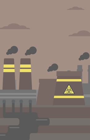power station: Background of nuclear power plant vector flat design illustration. Vertical layout. Illustration