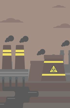 Background of nuclear power plant vector flat design illustration. Vertical layout. Illustration