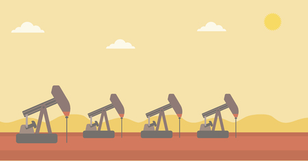 Background of oil derrick vector flat design illustration. Horizontal layout.