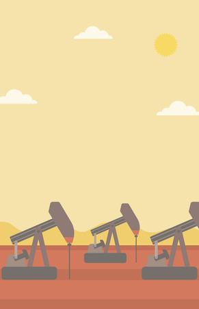 derrick: Background of oil derrick vector flat design illustration. Vertical layout. Illustration
