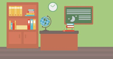 interior decoration: Background of classroom vector flat design illustration. Horizontal layout. Illustration