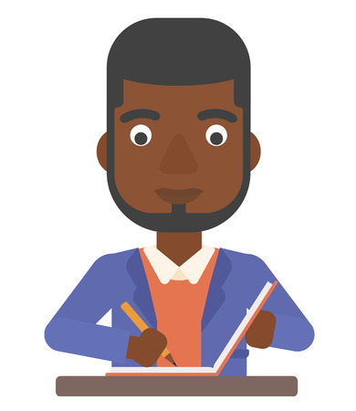 An african-american man writing an article in his writing-pad vector flat design illustration isolated on white background. Illustration