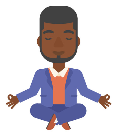concentrate: An african-american man meditating in lotus pose vector flat design illustration isolated on white background.