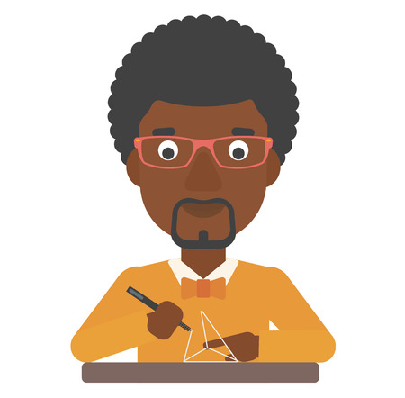 An african-american man making a model with a 3D pen vector flat design illustration isolated on white background. Vettoriali