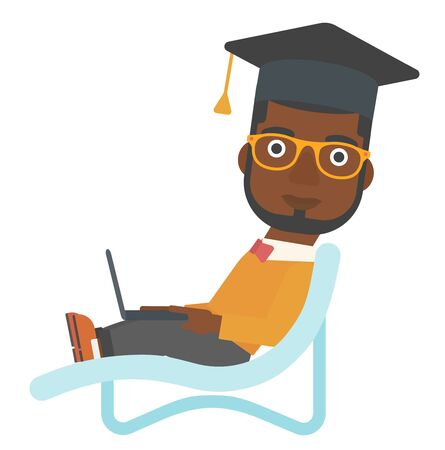 lying in: An african-american man in graduation cap lying in chaise long with laptop vector flat design illustration isolated on white background. Illustration